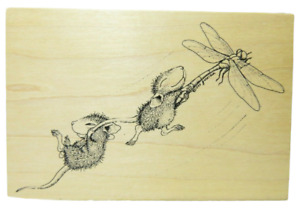 House Mouse Stampa Rosa Dragonfly-ing #50 Mice 1998 Rubber Stamp