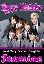 BTS BANGTAN BOYS Personalised Birthday Card! ANY NAME / AGE / RELATION KPOP