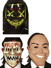 Adultos La purga horror Kiss Me sonriente Grim Luz Negro Halloween Disfraz