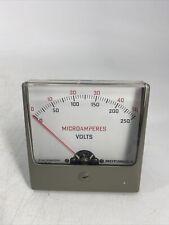Rare Vintage 72d82609h01 Motorola Microamperes Volts Panel Meter Gauge