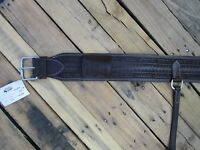 BARB WIRE TOOLED DARK BROWN LEATHER BACK REAR CINCH FLANK WESTERN HORSE GIRTH