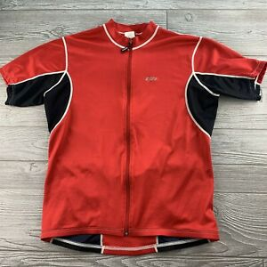 *Louis Garneau Mens Medium Full Zip Red Cycling Jersey Shirt