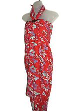 HAWAIIAN PLUS SIZE SARONG RED FLORAL BATIK PAREO LAVA LAVA COVERUP BUCKLE XL- 2X