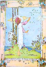 Postcard: Vintage Print Repro - Nouveau Woman, Butterflies All Blue, Bluebirds