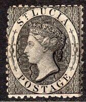 St Lucia 1864 black 1d perf 12.5 mint SG11