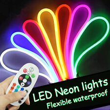110V 20m Flexible RGB LED Neon Light Waterproof full Color+ Remote Controller