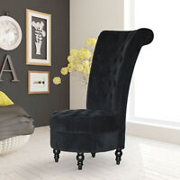 """45"""" Tufted High Back Velvet Accent Chair Living Room Soft Padded Couch Lounge BK"""