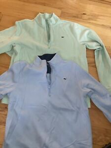 NWT Boy/'s LS Vineyard Vines Blue Fishing Performance Logo Hoodie T-Shirt L Or XL