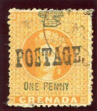 Grenada 1883 QV 1d orange & green (wmk sideways) very fine used. SG 27. Sc 16.