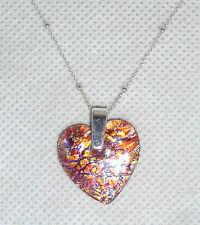 Una forma di cuore pendente di vetro di Murano Lamina & Catena D'Argento-Rosa