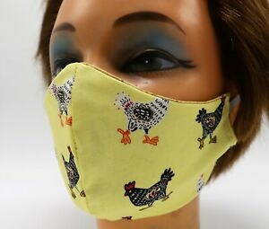 Chicken Print Washable Cloth Face Mask, Reusable Colorful Cotton Cover