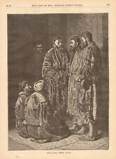 China, Chinese Men In Peasant Clothing, Vintage 1873 German Antique Art Print
