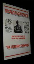 Original 1968 Fine Cond 1 Sheet JACK JOHNSON LEGENDARY CHAMPIONS DOCUMENTARY #1