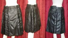 Mens Real Leather Pleated Kilt Club wear Kilt Scottish Master Cosplay Party Hot