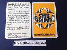 Waddington Star Trump 1978 Single card Luxury Cars Advertisement Card