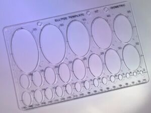 Ellipse Isometric Stencil Template 200mm X 135mm - 2mm to 55mm