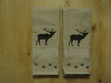 New 2 Silhouette ELK with TRACKS Tan Hand Towels, Northwoods, cabin lodge decor.