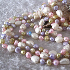 """54"""" 5-10mm Multi Color Baroque Freshwater Pearl Necklace A"""