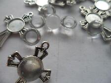 10 x 10mm crucifix croix pendentif/boucle d'oreille double face set kit & cabochons