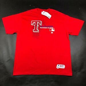 Vintage Texas Rangers Mens 2XL Red T Tee Shirt Crew Neck Majestic 2011 Playoffs