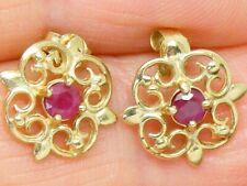 9ct Gold Ruby Scroll Design Earrings