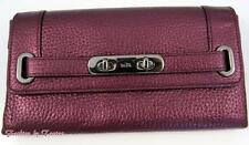 New w Tag Coach 53682 Pebble LEATHER Swagger Wallet Metallic Cherry