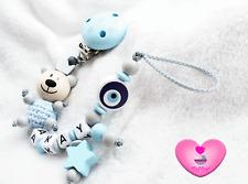 Schnullerkette mit Namen ♥ Junge ♥ NAZAR ♥ Teddy Bär ♥ Sterne Clip ♥ blau