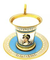 Antique Imp De Sevres Josephine Porcelain French Cups Saucer Royal HP Portrait