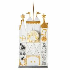 Disney Parks Small World Clock Christmas Holiday Diorama Ornament Building - NEW