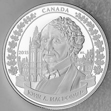 2015 $20 Sir John A. Macdonald 200th Birth Anniversary Pure Silver Proof Coin