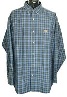Carhartt Men's Size 2XL Navy Blue Plaid  Long Sleeve Button Down Shirt