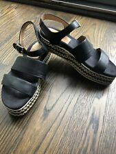 aquatalia Women's Black Leather Sandals With Wedge- Size 8