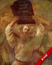MOSES & THE TEN COMMANDMENTS PAINTING BY REMBRANDT BIBLE ART REAL CANVAS PRINT