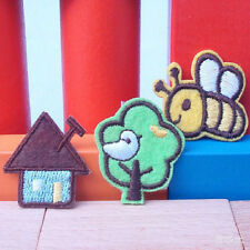 Embroidered Cloth Iron On Patch Sew Motif Applique Bee Tree House 3pcs LE