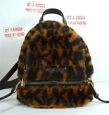 Michael Kors Rhea Leather Fur Messenger Backpack Brown Acorn multi