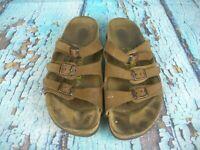 BIRKENSTOCK Florida Brown Leather 3 Strap Slide Sandals Shoes Women's 39 / 7