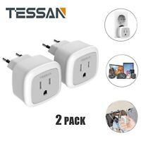 TESSAN USA to Most of European Travel Mini Size Power Plug Adapter -2 Pack