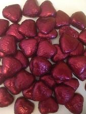 50 Burgundy wrapped solid belgian chocolate hearts/wedding favours/sweets