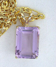 14Kt Gold 14x10 Emerald Cut Amethyst Pendant + FREE 19 Inch Goldplated Chain