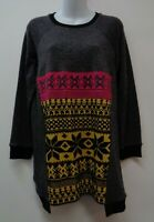 Uncle Frank Small Grey Tunic Top Shirt Blouse Stretch Knit Long Sleeve Womens