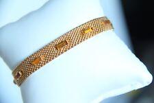 Vintage, Gold Tone Mesh Bracelet, Designer Radi, Spain, Amber Rhinestones