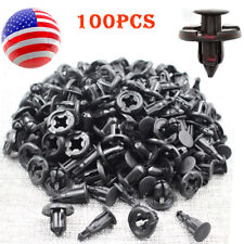 100x 10mm Black Plastic Rivets Bumper Hood Fender Clips Fastener for Acura Honda