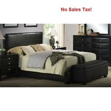 upholstered bed frame faux leather full queen king size w headboard black color