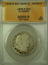 1896-S Barber Silver Half Dollar 50c Coin ANACS G-6 Details Cleaned (WW)