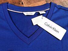 Calvin Klein Men's Liquid Touch Blue Cotton V-Neck T-Shirt Size Large New