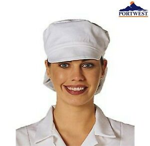 White Catering Hat Chef Bakers Bouffant Cap Food Hygiene Snood Cap portwest s896