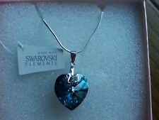 Genuine Swarovski Elements Capri Blue 18mm Crystal Boxed Silver Pendant Necklace