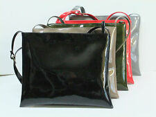 Hot Faux Patent Leather Shoulder Cross-Body Bag Flat with Zip-Top