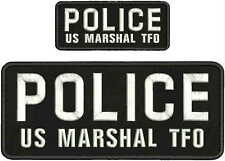 POLICE US MARSHAL TFO EMBROIDERY PATCH 4X10 &2X5 HOOK ON BACK BLK/white
