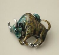 Unique bull  brooch pin enamel on metal